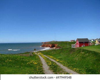 Landscape of red sandstone cliffs at sea with a red wooden house and a trail in green grass and dandelions, Magdalene island, isles de la Madeleine, Quebec, Canada