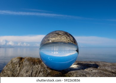 Landscape is reflected inside the crystal ball