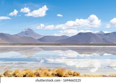 Landscape reflection in The Salar de Aguas Calientes Lagoon, San Pedro de Atacama, Chile