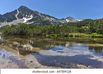 Landscape with Reflection of Sivrya peak in Banski lakes, Pirin Mountain, Bulgaria