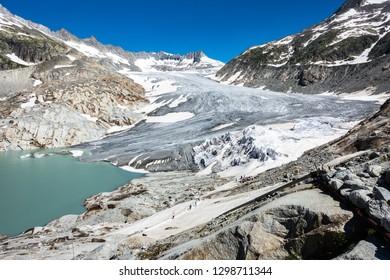 Landscape of Rhone Glacier, the source of Rhone River, Valais, Switzerland