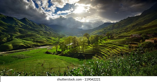 Landscape with rice terraces and mountain river on a sunny day, playing with shadows and light. panorama.
