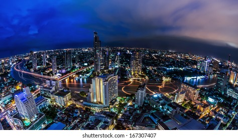 Landscape of River in Bangkok city in night time with bird view