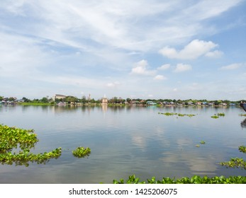 Landscape river and beautiful clouds on blue sky livelihoods by the river,View of nature on Chao Phraya River-Thailand.