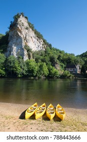 Landscape with river the Dordogne in France