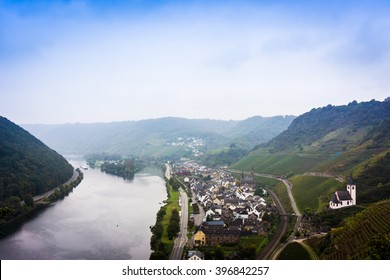 Landscape with the river Moselle in Germany. panorama of Moselle valley and Mosel