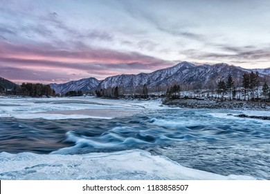 Landscape with river and mountains, sunset on the river katun on the Altai