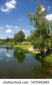Landscape with a river in the old village of Russia