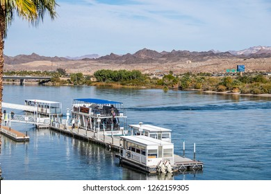 Landscape with river and palm trees in the vicinity of Laughlin Nevada, USA, November 2018