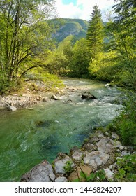 landscape with river in Slovenia
