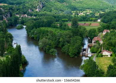 landscape with river the Lot in the south of France