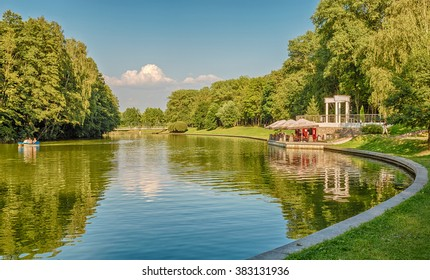 Landscape with the river Svisloch in the Victory Park in Minsk, Belarus.