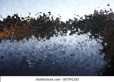 landscape with river, tribute to Pollock, abstract expressionism, art, digital, abstract illustration with mosaic effects of gradient colors black,blue, ochre,