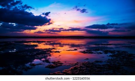 landscape river twilight sunset evening