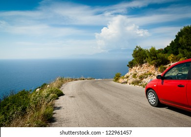 Landscape with road in mountain along coast (greek island, Zante)