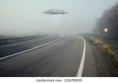 Landscape road and UFO. Fiction scene with alien spaceship. Photo with 3d rendering element