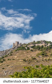 Landscape of Rocca Calascio, beautiful hills on the High Mountain in summer Time. Abruzzo Italy,  Gran Sasso Mountains.