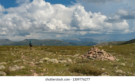 Landscape with rocks and blue sky,  Altai, Siberia, Russia