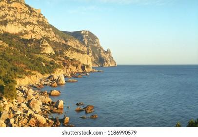 Landscape with rocks on sea shore, Crimea