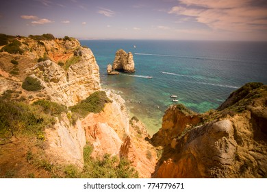 a landscape at the rocks of Ponta da Piedade near Lagos and Luz at the Algarve of Portugal in Europe.  Portugal, Algarve, April, 2017