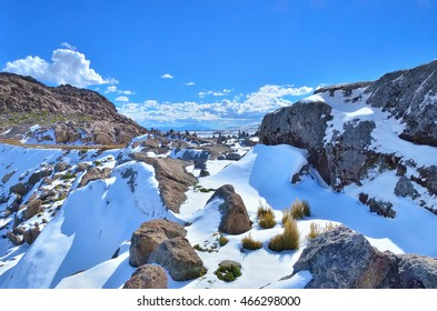 landscape rocks with snow