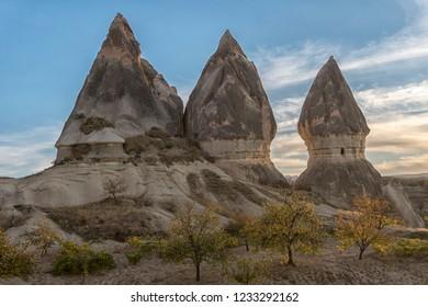 Landscape of rocks with unusual  form in Goreme,Cappadocia, Turkey