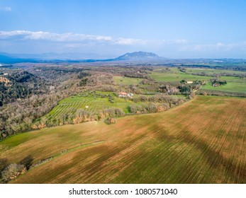 Landscape of the Roman countryside. Mount Soratte in Italy.