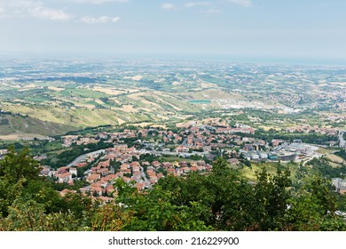 landscape with roofs of houses in small tuscan town in province, Italy