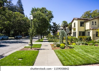 Landscape in the Rose Garden residential neighborhood of San Jose, south San Francisco bay area, California