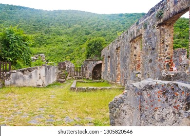 the landscape of ruins of boiling house in annaberg sugar mill plantation in US virgin islands