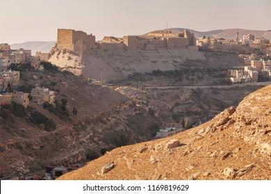Landscape with ruins of crusader castle Kerak  (Al Karak) on the hill, Jordan