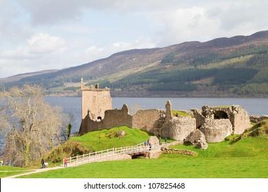 Landscape Ruins of Urquhart Castle at Loch Ness Inverness Highlands, Scotland UK