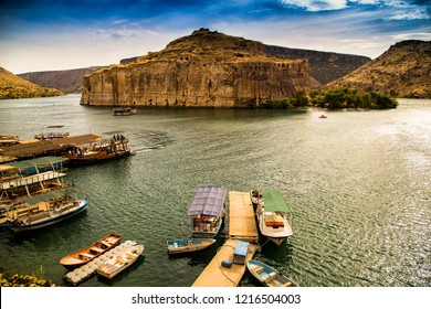 Landscape of Rumkale  in the foreground Euphrates River. Halfeti and Rumkale are a touristic areas between Gaziantep and Sanliurfa in Turkey.