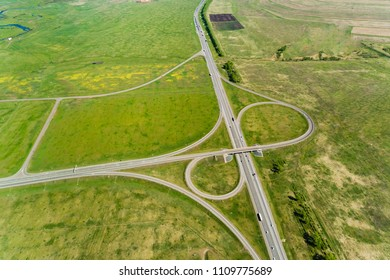 Landscape rural areas of the highway, the intersection, shooting from air