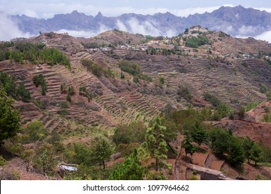 Landscape with rural houses and farming terraces in Lombo Joane, island of Santo Antao, Cape Verde