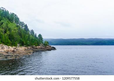 Landscape of the Saguenay Fjord in Sainte-Rose-du-Nord, Quebec, Canada