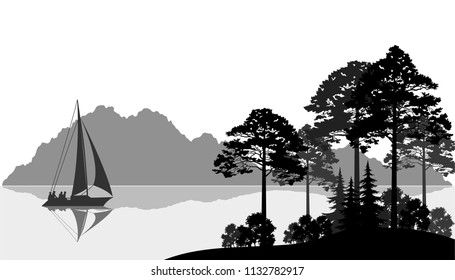 Landscape with Sailboat on a Mountain Lake, Fir Trees, Pines and Bushes, Black and Grey Silhouettes.