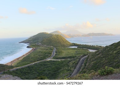 Landscape at Saint Kitts and Nevis Island, the Atlantic Ocean on the left, the Caribbean Sea on the right