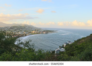 Landscape at Saint Kitts and Nevis Island,view of the Atlantic Ocean