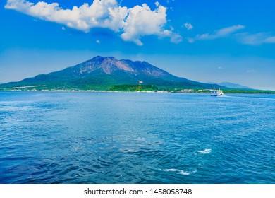 Landscape of Sakurajima island and Kagoshima ferry in Kagoshima Japan