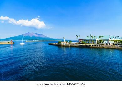 landscape of Sakurajima island and Kagoshima port in Kagoshima Japan