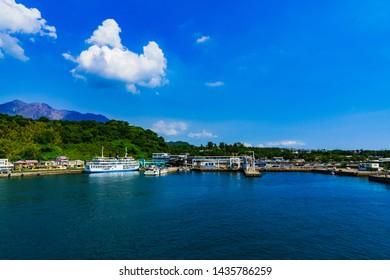 landscape of Sakurajima island port and Kagoshima bay in Kagoshima Japan