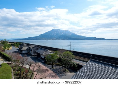 Landscape with Sakurajima in Kagosima.