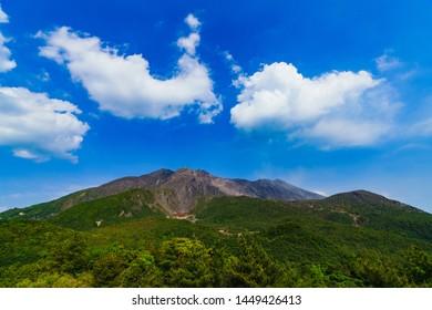 landscape of Sakurajima mountain from Yunohira observation point in Kagoshima Japan