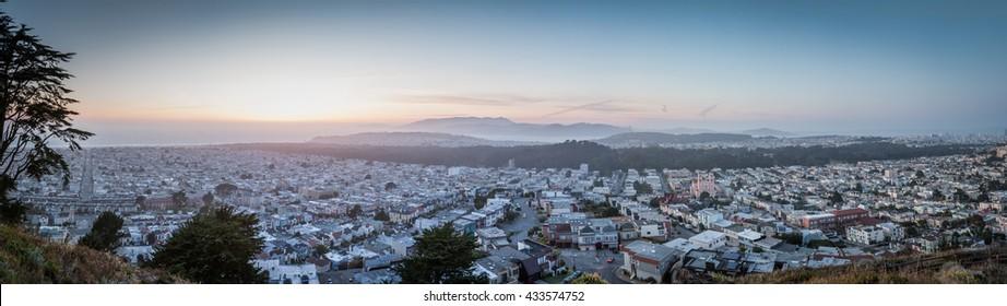 Landscape of San Francisco in sunset
