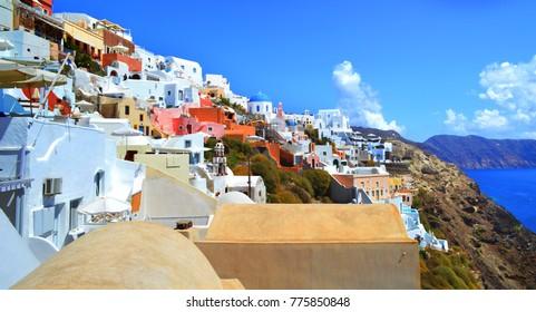 Landscape of Santorini in Greece with blue sea