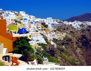 landscape of Santorini island with houses and sea