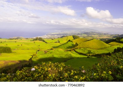 Landscape in Sao Miguel Island, Azores, Portugal, as seen from Coal Peak viewpoint. Capelas and Ponta Delgada in the background