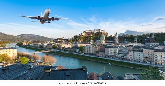 Landscape scene of Fortress Hohensalzburg of Salzburg with Salzach river line