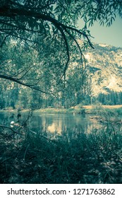 Landscape scene from Yosemite National Park in California with vintage retro tone